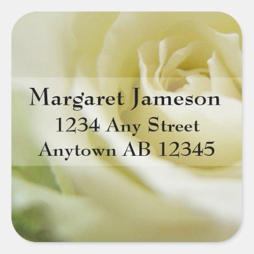 Sugar White Rose Wedding Return Address Stickers