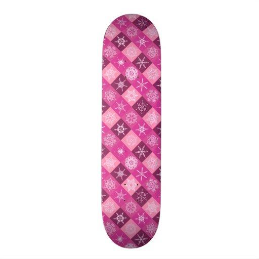 Sugarplum Pink Snowflakes Collection Skateboards