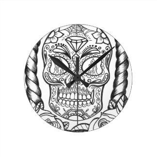 Sugarskull Tattoo Art By Sweetpieart Round Clock