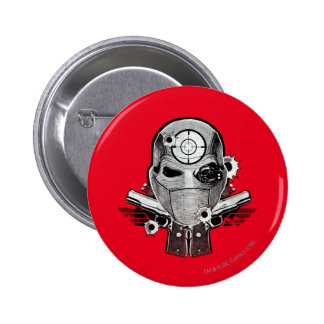 Suicide Squad | Deadshot Mask & Guns Tattoo Art 6 Cm Round Badge