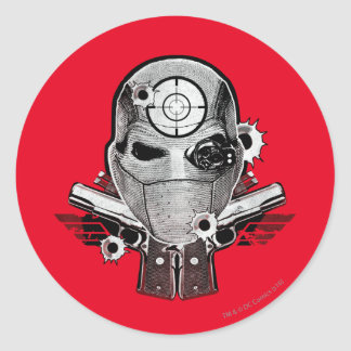 Suicide Squad | Deadshot Mask & Guns Tattoo Art Classic Round Sticker