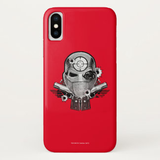 Suicide Squad   Deadshot Mask & Guns Tattoo Art iPhone X Case