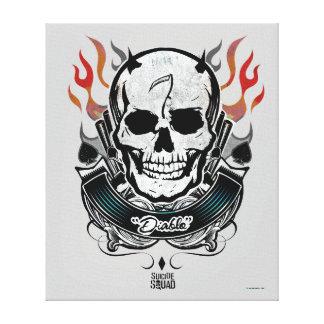 Suicide Squad | Diablo Skull & Flames Tattoo Art Canvas Print