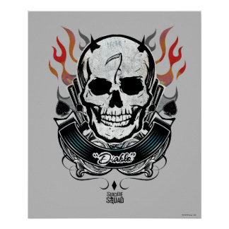 Suicide Squad | Diablo Skull & Flames Tattoo Art Poster