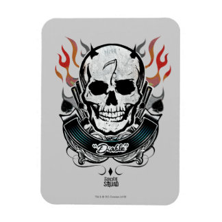 Suicide Squad   Diablo Skull & Flames Tattoo Art Rectangular Photo Magnet