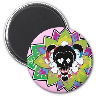 Suicide Squad   Harley Quinn Skull Tattoo Art 6 Cm Round Magnet