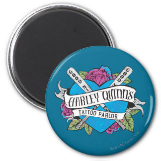 Suicide Squad | Harley Quinn's Tattoo Parlor Heart 6 Cm Round Magnet
