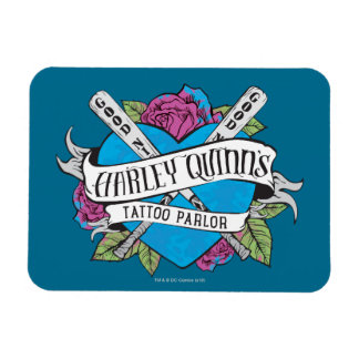 Suicide Squad   Harley Quinn's Tattoo Parlor Heart Rectangular Photo Magnet