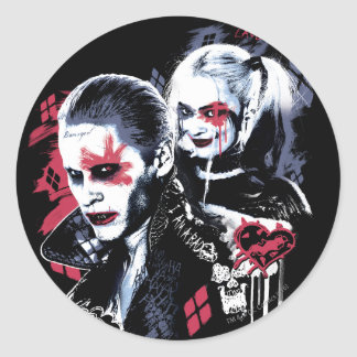 Suicide Squad | Joker & Harley Painted Graffiti Classic Round Sticker