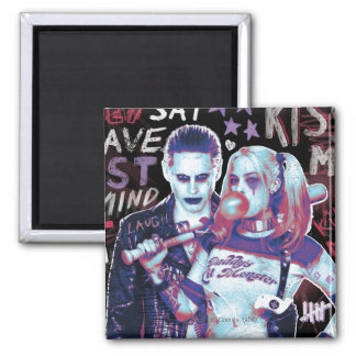 Suicide Squad | Joker & Harley Typography Photo Square Magnet