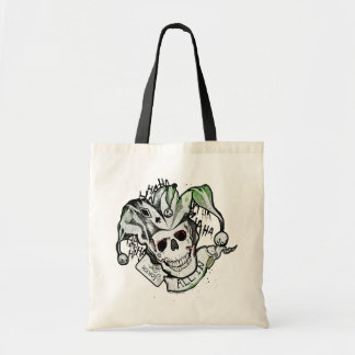 "Suicide Squad | Joker Skull ""All In"" Tattoo Art Budget Tote Bag"