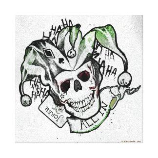 "Suicide Squad | Joker Skull ""All In"" Tattoo Art Canvas Print"