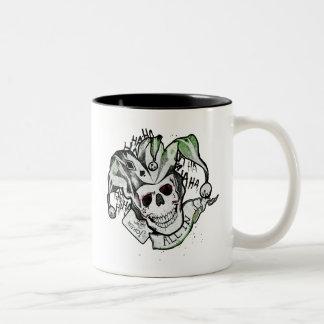 "Suicide Squad   Joker Skull ""All In"" Tattoo Art Two-Tone Coffee Mug"