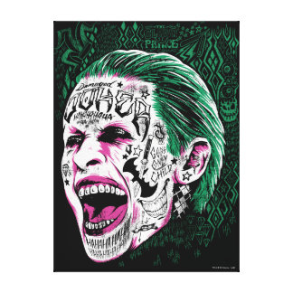 Suicide Squad | Laughing Joker Head Sketch Canvas Print
