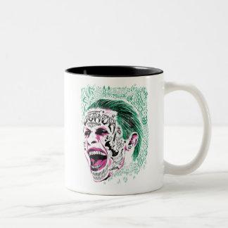 Suicide Squad   Laughing Joker Head Sketch Two-Tone Coffee Mug