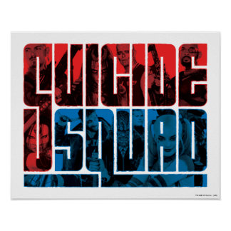 Suicide Squad | Red and Blue Logo Poster