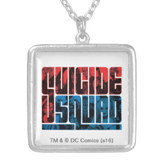 Suicide Squad   Red and Blue Logo Square Pendant Necklace