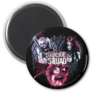 Suicide Squad   Squad Girls Graffiti Badges 6 Cm Round Magnet