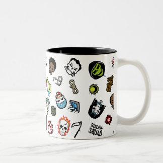 Suicide Squad   Suicide Squad Emoji Pattern Two-Tone Coffee Mug