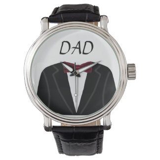 Suit And Dickie Bow Dad Vintage Leather Strap Wristwatches