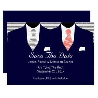 Suit and Tie Gay Save The Date Wedding Coral 9 Cm X 13 Cm Invitation Card