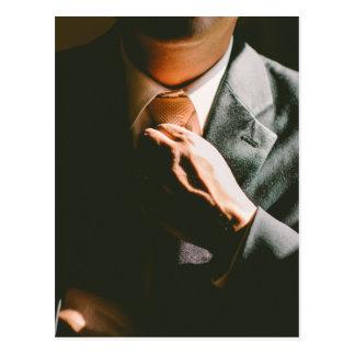 Suit businessman tie shadow effect postcard