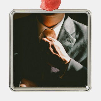 Suit businessman tie shadow effect Silver-Colored square decoration