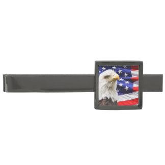 Suit Men Tie eagle flag USA patriotic troops Gunmetal Finish Tie Bar