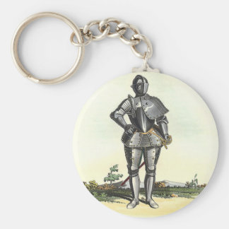 Suit of armor with backdrop basic round button key ring