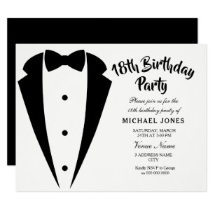 Suit Tie Mens 18th Birthday Party Invitation