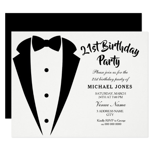 Suit Tie Mens 21st Birthday Party Invitation