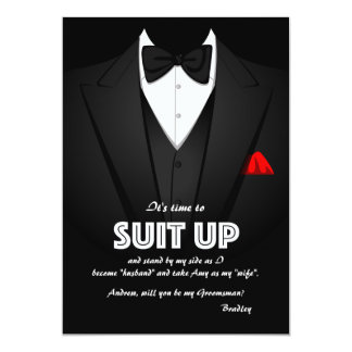 Suit Up Groomsman Request Card 13 Cm X 18 Cm Invitation Card