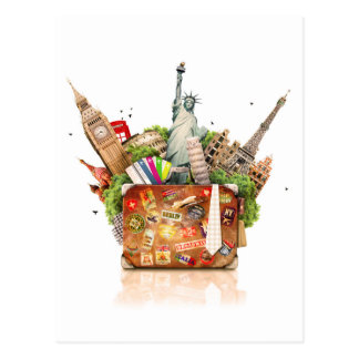 Suitcase Full of Travel Destinations Postcard