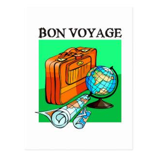 Suitcase, luggage, map and globe: Bon Voyage! Postcards