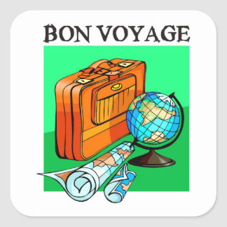 Suitcase, luggage, map and globe: Bon Voyage! Square Sticker
