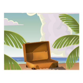 Suitcase open on a Beach Postcard