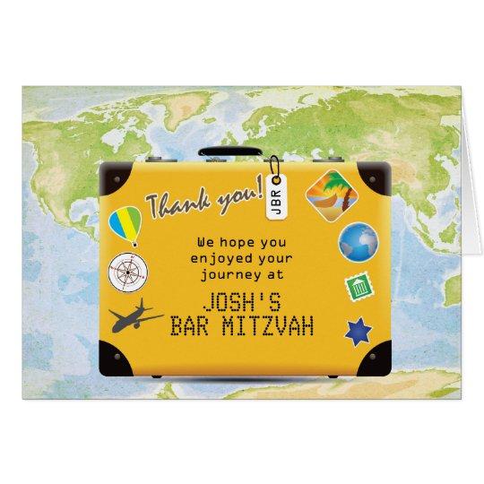 Suitcase World Travel Themed Bar Bat Mitzvah Card