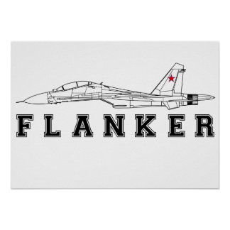 SUKHOI SU-30 FLANKER RUSSIAN AIR FORCE JET FIGHTER POSTER