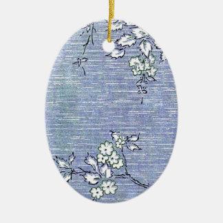 """Suki"" Vintage Wall Paper Ceramic Oval Decoration"