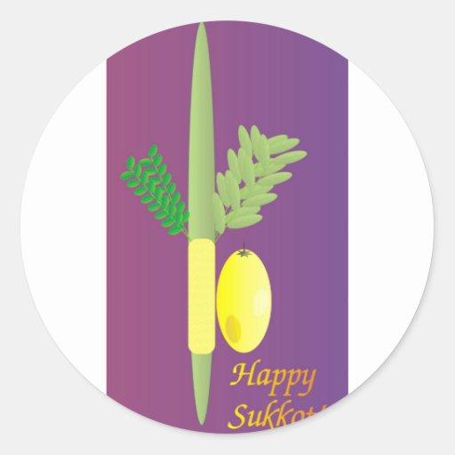 Sukkot 4 minim round sticker