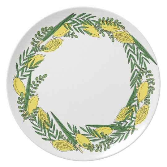 Sukkot Four Species Melamine Plate