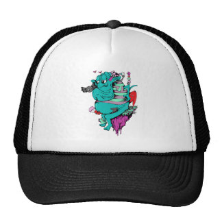 sulking monster with pals vector art hats