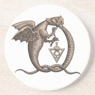 Sulphur and Mercury Ouroboros Symbol Coaster