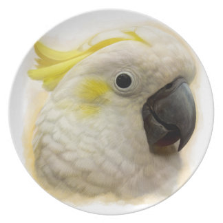 Sulphur Crested Cockatoo realistic painting Party Plates