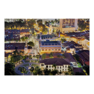 Sultan Mosque in Singapore at Night Poster