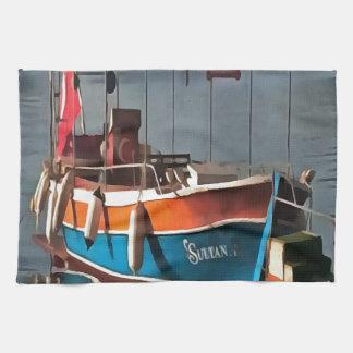 Sultan Taxi Boat Marmaris Tea Towel