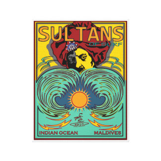 SULTANS MALDIVES INDIAN OCEAN SURFING CANVAS PRINT
