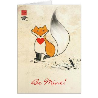 Sumi-e Fox Valentine Greeting Card