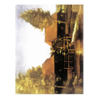 Summary Description Painting of watermill by Vince Postcard