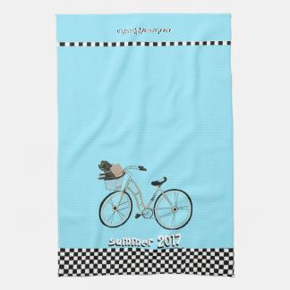 Summer 2017 Bike to The Beach (With your Dog) Tea Towel